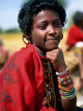 Portrait of Girl Riding Home from Market Near Tessenei, Eritrea