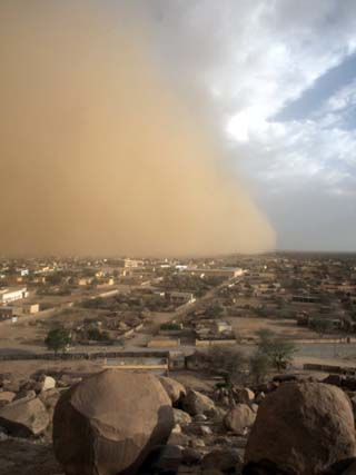 Sandstorm Approaches the Town of Teseney, Near the Sudanese Border, Eritrea, Africa