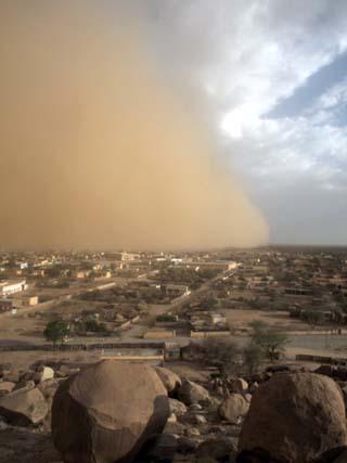 Sandstorm Approaches the Town of Teseney, Near the Sudanese Border, Eritrea, Africa