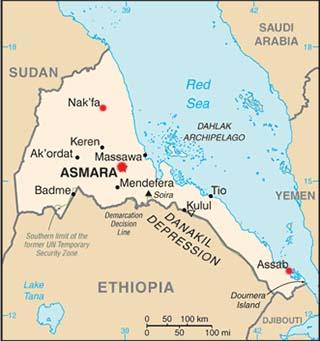 Eritrea latitude and longitude map