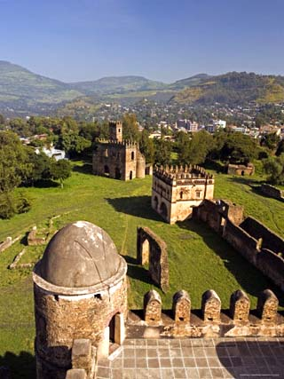 View Over Gonder and the Royal Enclosure from the Top of Fasiladas' Palace, Ethiopia