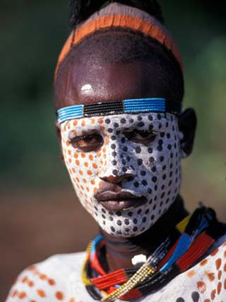 Karo Warrior in Traditional Body Paint, Ethiopia