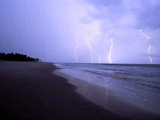 Lightning Illuminates the Coastline of Gabons Loango National Park