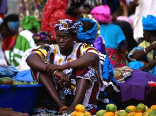 A Woman Selling Oranges at the Albert Market in Banjul, Banjul, Western, Gambia, The