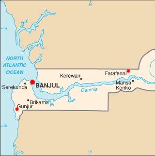 Gambia latitude and longitude map