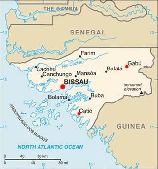 Guinea-Bissau latitude and longitude map
