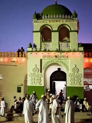 Kenya; the Riyadha Mosque at Dusk; the Gathering Point for Maulidi Festival