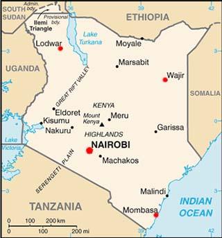 Kenya latitude and longitude map