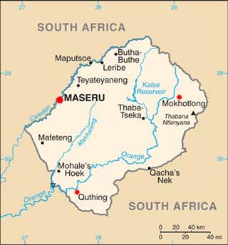 Lesotho latitude and longitude map