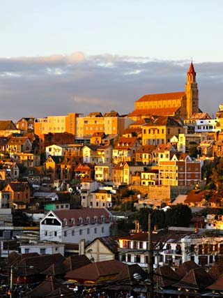 View Over Capital City at Sunset, Antanarivo, Madagascar, Africa