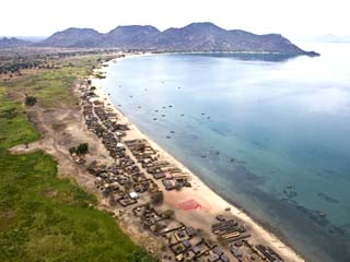 Aerial View of a Village Along the Coast of Lake Malawi
