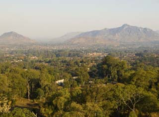 Malawi, Zomba, View over the Town of Zomba from the Lower Slopes of Zomba Plateau
