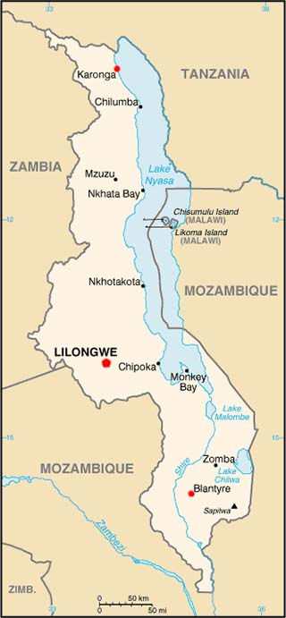 Malawi latitude and longitude map