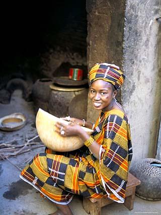 Woman Sitting in Courtyard, Djenne, Mali, Africa