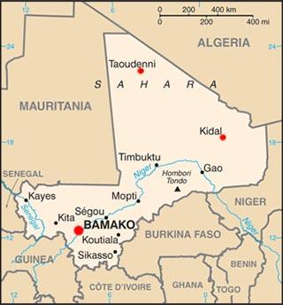 Mali latitude and longitude map