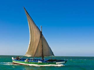 Traditional Sailing Boat in Waters of the Banc D'Arguin, Mauritania, Africa