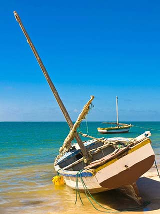 Traditional Sailing Boats in the Banc D'Arguin, Mauritania, Africa