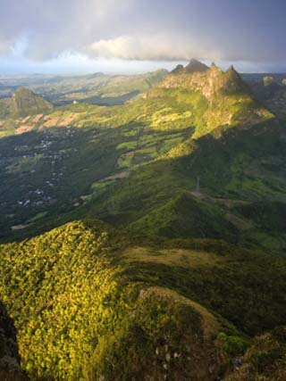 East Mauritius and Pieter Both Mountain, View from Le Pouce Peak, Mauritius, Indian Ocean