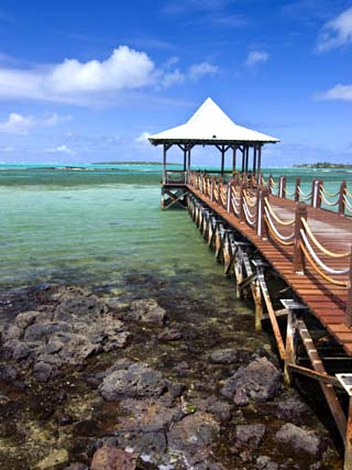 Pier Is Leading into the Blue Sea and Ends in a Small Hut, Mauritius, Indian Ocean, Africa