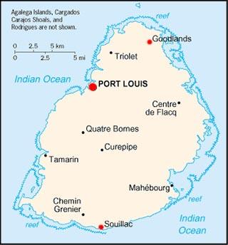 Mauritius latitude and longitude map