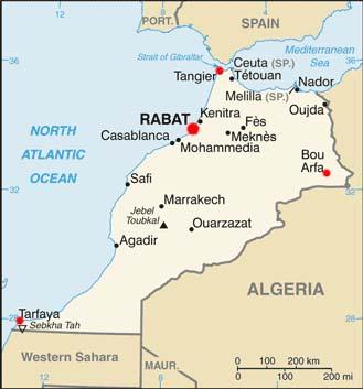 Morocco latitude and longitude map