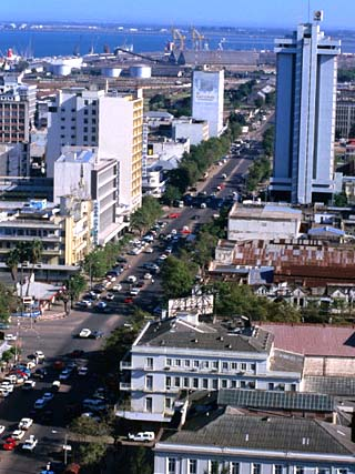 Overhead of Avenida 25 De Setembro in Lower Town Area with Wharves in Distance, Maputo, Mozambique