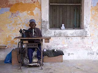 Man Works His Sewing Machine on Ibo Island, Part of the Quirimbas Archipelago, Mozambique
