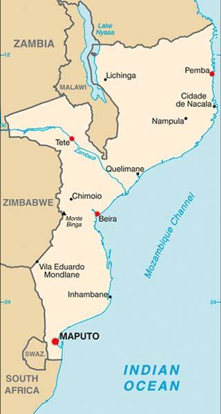 Mozambique latitude and longitude map