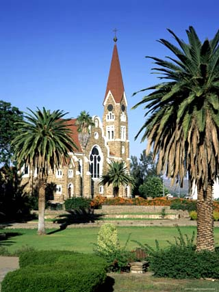 Christuskirche (Lutheran Christian Church) and Parliament Gardens, Windhoek, Namibia, Africa