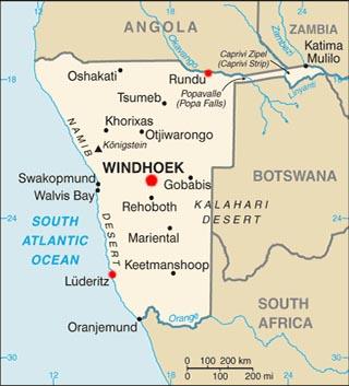 Namibia latitude and longitude map