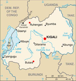 Rwanda latitude and longitude map