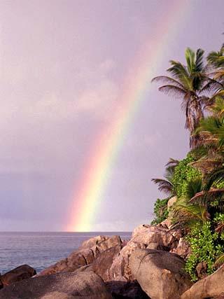 Rainbow over Tropical Beach of Anse Victorin, Seychelles