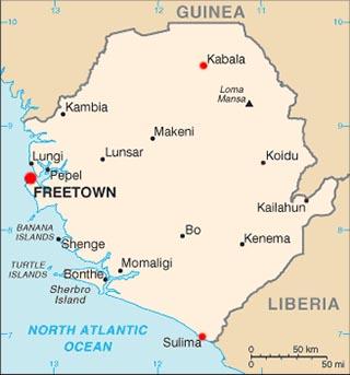 Sierra Leone latitude and longitude map