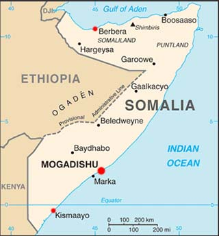 Somalia latitude and longitude map