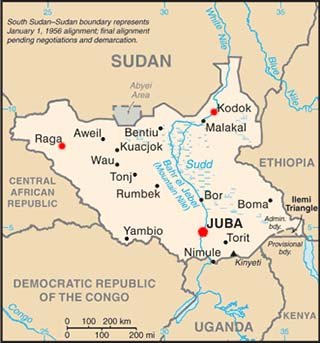South Sudan latitude and longitude map