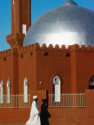 Man Walking Past Silver-Domed Mosque, Omdurman, Khartoum, Sudan