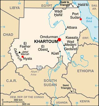 Sudan latitude and longitude map