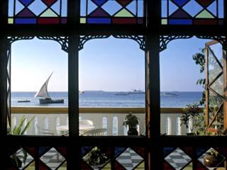 Dhow Through Window, Zanzibar, Tanzania