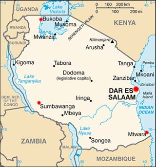 Tanzania latitude and longitude map