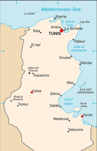 Tunisia latitude and longitude map
