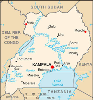 Uganda latitude and longitude map