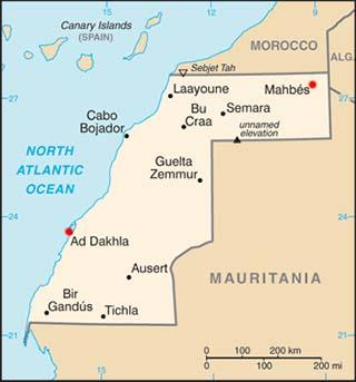 Western Sahara latitude and longitude map