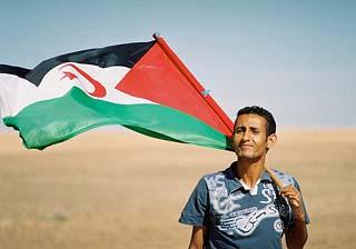 Sahrawi man with national flag