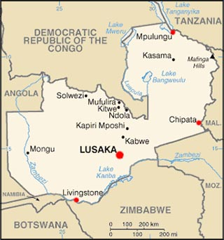 Zambia latitude and longitude map