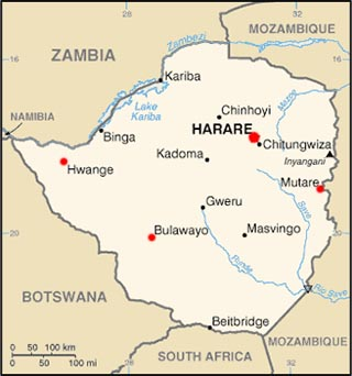 Zimbabwe latitude and longitude map