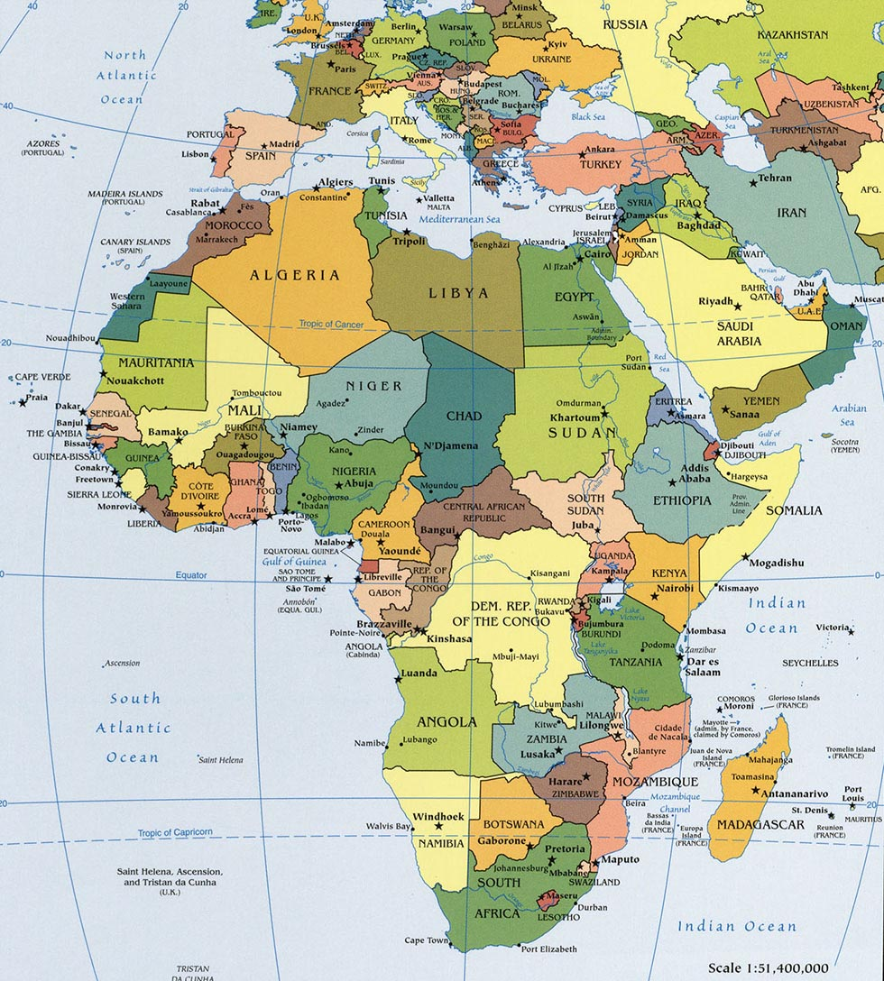 Labeled Physical Map Of Africa.Political Map Of Africa Worldatlas Com