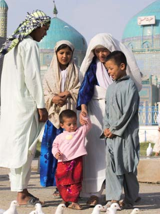 Family Looking at Famous White Pigeons at the Shrine of Hazrat Ali, Mazar-I-Sharif, Afghanistan