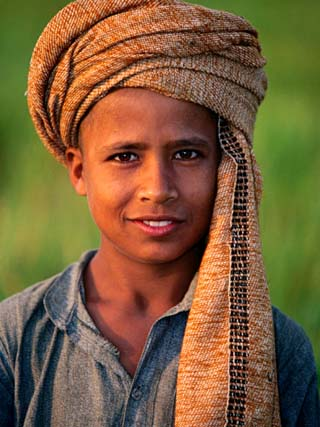 Boy with Orange Turban, Looking at Camera, Afghanistan
