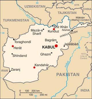 Afghanistan latitude and longitude map