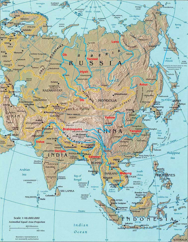Map Of Asia Rivers And Seas.Rivers Of Asia Landforms Of Asia Worldatlas Com